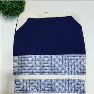 Halogen Blue and White Print Skirt (6)
